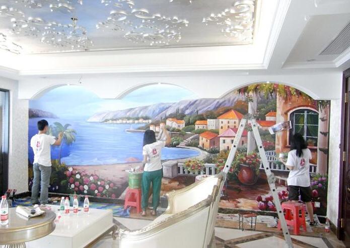 的颜色作为手绘墙画的背景